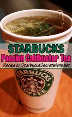 Just like the original, the Passion Coldbuster Tea soothes sore throats and helps clear up those sinuses. Venti tea with one bag of Passion Tango tea and one bag of Emperor's Cloud and Mist Half steamed lemonade and half boiling water Add a bit of honey Starbucks Secret Menu Teas, Starbucks Tea, Starbucks Recipes, Drinks For Sore Throat, Sore Throat Tea, Yummy Drinks, Healthy Drinks, Starbucks Medicine Ball Recipe, Hot Tea Recipes