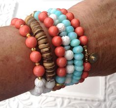 Pearls and White Coral Beaded Stretch Bracelet by LoveandLulu