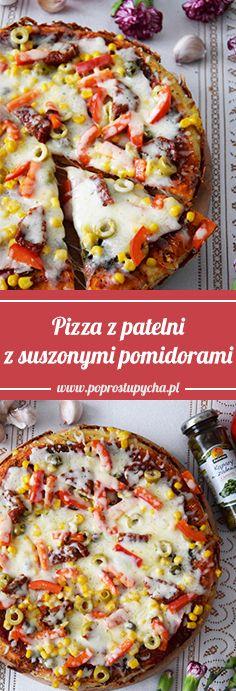 Zepsuł Ci się piekarnik, a masz ochotę na domową pizzę? Koniecznie wypróbuj pizzę z patelni na cienkim, świetnie wypieczonym cieście, z mnóstwem dodatków (suszone pomidory, kapary,szynka, kukurydza, oliwki, czerwona papryka) oraz ciągnącą się mozzarellą! :) #poprostupycha #pizza #pizzazpatelni #przepis