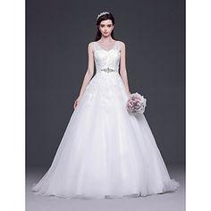 Vestido de Noiva Trapézio/Princesa Em V Cauda Escova ( Tule ) – EUR € 189.47