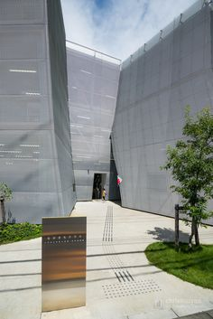 Entrance of Nakamachi Terrace (なかまちテラス) Metal Mesh Screen, Ryue Nishizawa, Expanded Metal, Japanese Architecture, Facade Design, Architects, Terrace, Skyscraper, Entrance