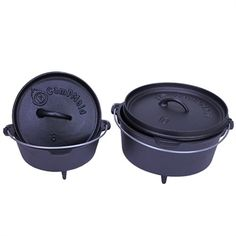CampMaid 8in & 10in. Cast Iron Dutch Oven Set  CampMaid 8in & 10in. Seasoned Dutch Ovens come pre-seasoned, ready for camp. The set of dutch ovens allows you to fry, bake, boil, and slow cook in the great outdoors. If you have never tried cooking in a dutch oven, you will be surprised at how flavorful camp food can be.
