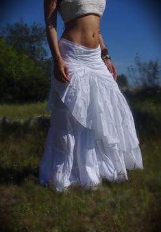 White Long Skirt Wedding Skirt Maxi Skirt Goddess by Kalbelia