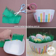 Como fazer uma cesta de Páscoa com washi tape ou fita adesiva colorida - How to decorate an Easter Basket with washi tape