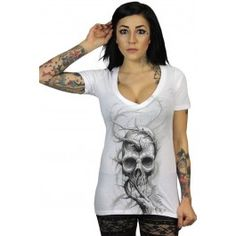 Sullen Clothing Women's Thorned Deep V-Neck T-Shirt Kinds Of Clothes, Clothes For Women, Rockabilly Shirts, Tattoo Clothing, Tattoo T Shirts, Punk Outfits, V Neck T Shirt, T Shirts For Women, Tees