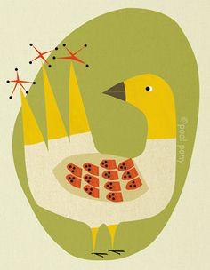au milieu du siècle inspiré art print oiseau par poolponydesign