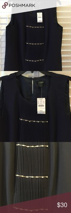 J.Crew navy top with rhinestones NWT Navy blouse with ruffle design and rhinestones. Sleeveless. Wearable to work or a party! Perfect for fall or winter! New with tags! J. Crew Tops Blouses