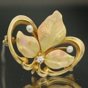 Antique Victorian 10k Gold & Enamel Flower Watch Pin with Freshwater Pearl & Diamond Accents