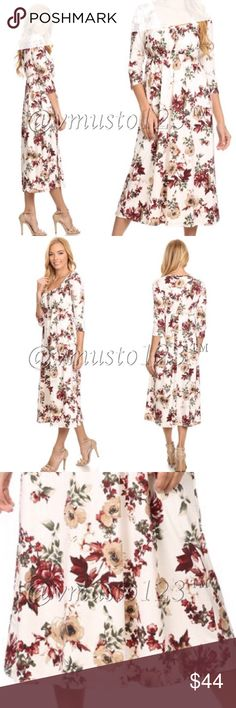COMING SOON!!! IVORY FLORAL MIDI DRESS SUPPORT BUYING MADE IN USA CLOTHING! - This dress is amazing!!! So on trend and perfect for Easter and Spring! Features an ivory colored bodice and stunning floral Print, 3/4 sleeve midi dress in a relaxed style with a scoop neck, a cinched waist and pleated detailing. Fits women's sizing true to size. S(2-4) M(6-8)L(10-12) PRICE ABSOLUTELY FIRM UNLESS BUNDLED DUE TO HIGH MADE IN USA MANUFACTURING COSTS! 95% rayon, 5% spandex, won't shrink! ValMarie…