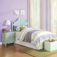 Powell Youth Bedroom Gabby Twin Bed In A Box Furniture Green Teen Girl Bedrooms, Guest Bedrooms, Preteen Bedroom, Purple Bedrooms, Country Bedrooms, Kids Bedroom Furniture, Bedroom Decor, Bedroom Ideas, Box Bed