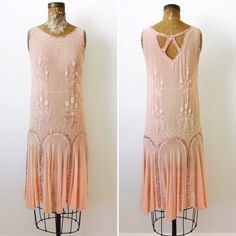 Vintage 1920s Beaded Silk Flapper Dress/Pastel pink color/Art Deco/Gatsby Style/Wedding dress