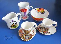 painted mug Painted Mugs, Sugar Bowl, Bowl Set, Painting, Painted Cups, Painting Art, Painted Coffee Mugs, Paintings, Painted Canvas