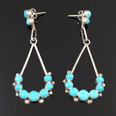 Old Zuni Handmade Sterling Silver Turquoise Dangle Earrings   eBay