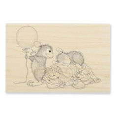 """""""BALLOON SURPRISE"""", Stock #: HMP40, from House-Mouse Designs®. This item was recently purchased off from our web site. Click on the image to see more information."""