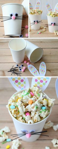 Einfache Ostern-Bastelarbeiten für Kinder – dekoration Easy Easter Crafts For Kids, Easy Easter Crafts For Kids To Make Easter Bunny Cups And Bunny Bait Easy Easter Crafts, Easter Projects, Easter Art, Hoppy Easter, Crafts For Kids To Make, Easter Crafts For Kids, Easter Eggs, Easter Bunny, Kids Diy