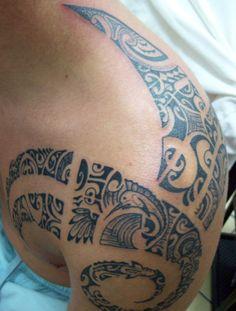 Polynesian tahitian tattoo model of armor marquesas - Tatouage tribal epaule ...
