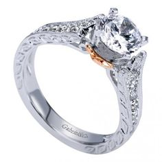 14K White/Rose Gold Victorian Straight Engagement Ring