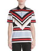 Columani Diagonal-Striped Polo Shirt
