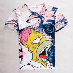T-Shirts Fashion Hip Hop Short Sleeve T-Shirt Clothes Animal Print Mens Casual Shirt 3d T Shirts, Cheap T Shirts, Funny Tshirts, Movie Shirts, Casual Shirts For Men, Casual Tops, Men Casual, The Simpsons Movie, Hip Hop