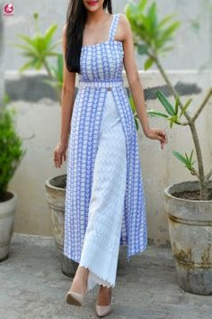 Buy Powder Blue and White Printed Crepe Kurti Online in India Dress Indian Style, Indian Dresses, Kurta Designs Women, Blouse Designs, Indian Wedding Outfits, Indian Outfits, Blue And White Summer Dresses, Indian Designer Suits, Western Dresses
