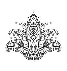 Pretty ornate paisley flower design element vector by Seamartini on VectorStock®
