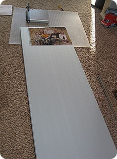 Another way to make canvas picture frames. Could just paint the styrofoam instead of covering it with fabric.