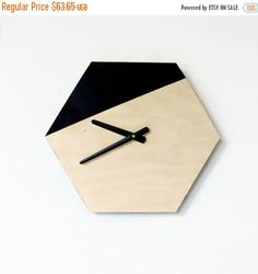 Sale, Wall Clock, Modern Hexagon Clock, Black and Wood Decir, Wood Clock, Home…