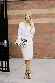 White Long Sleeve Shirt / White Pencil Skirt / Crisscross Ankle Strap Sandals