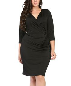 This Black Gathered Surplice Dress - Plus is perfect! #zulilyfinds