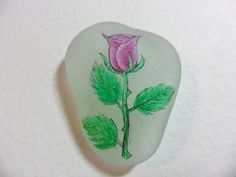 Purple valentine rose - Floral miniature painting on lovely English sea glass