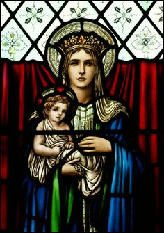 MADONNA AND CHILD. Beautiful in stained glass.