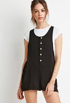 Buttoned T-Back Romper | Forever 21 - 2000154361