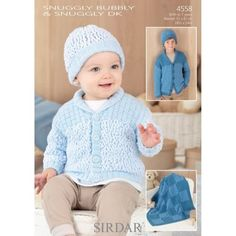 Shawl Collar Cardigan, Hat & Blanket in Sirdar Snuggly Bubbly DK - 4558. Discover more Patterns by Sirdar at LoveKnitting. We stock patterns, yarn, needles and books from all of your favorite brands.