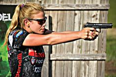 Eagle Imports Shooter, Heather Fitzhugh, competing at the Targeel 3-Gun Monthly Match with the Grand Power X-Calibur.