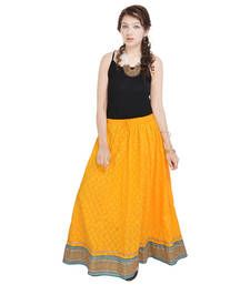 Buy Rajasthani Ethnic Yellow Pure Cotton Skirt skirt online