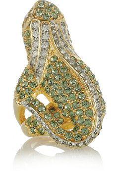 KENNETH JAY LANE  22-karat gold-plated crystal iguana ring