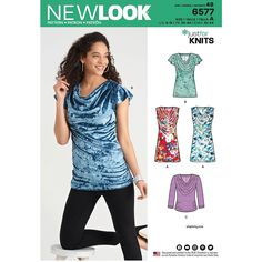 ba7920fd Misses Knit Tops New Look Sewing Pattern 6577. Size 6-18. Top Mønster