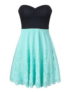 Black and teal eyelet