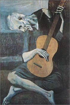 """A crisp and colorful poster of Pablo Picasso's """"Blue Period"""" masterpiece The Old Guitarist. Perfect for any lover of Fine Art! Fully licensed. Ships fast. 24x36 inches. Need Poster Mounts..? su0599 py"""