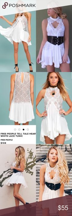 Free People White Lace Dress Wear your heart on your sleeve with the Free People White Lace Tunic! Sheer, black and white eyelash lace shapes a mock neckline (with two back buttons) atop this stunning tunic with a sleeveless, swing silhouette and gauzy woven trim at the hem. Front and back keyholes add a sexy touch. Unlined and sheer. Self: 36% Rayon, 33% Polyester, 31% Nylon. Lining: 100% Rayon. Free People Dresses