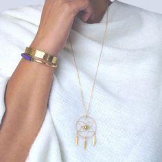 Sautoir Dreamcatcher - Attrape rêve laiton or - Finesse – PAMALAKA - Créateur de bijoux boho chic