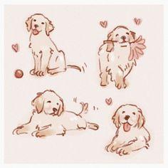 Cute Animal Drawings, Animal Sketches, Art Drawings Sketches, Cute Dog Drawing, Dog Drawings, Doodle Drawings, Pretty Art, Cute Art, Illustration Inspiration