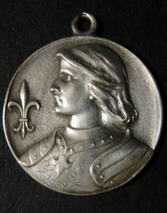 ANTIQUE HUGE FRENCH STERLING SILVER RELIGIOUS MEDAL PENDANT ST JOAN OF ARC