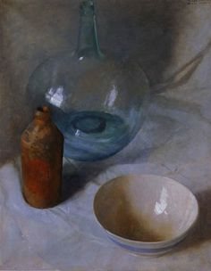 N. C. Wyeth: Still Life with Two Bottles and Bowl