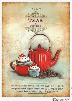 Get your hands on a customizable Tea postcard from Zazzle. Find a large selection of sizes and shapes for your postcard needs! Vintage Tea, Vintage Labels, Vintage Cards, Vintage Coffee, Vintage Country, Posters Vintage, Vintage Prints, Vintage Pictures, Vintage Images