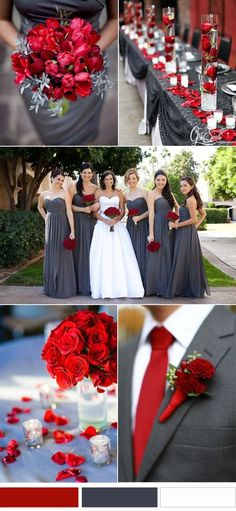 Fall wedding colors classic red and grey wedding color inspirations Gray Wedding Colors, Popular Wedding Colors, Wedding Color Schemes, Red Grey Wedding, Colour Schemes, Color Combinations, Country Wedding Colors, Charcoal Wedding, Winter Wedding Colors