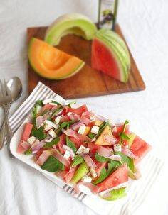 Melon and Prosciutto Salad, my new favorite food!