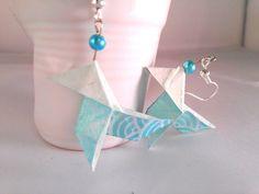boucles d'oreille origami cocotte turquoise en par papierelief