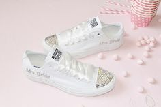 OMG! This is totally me!!! :)  CUSTOM Crystal Wedding Converse Mono White All Stars Chuck Taylor Pumps Flats Bling Sparkly Rhinestone Bride Bridesmaid on Etsy, $119.98