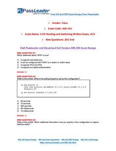 New 400-101 Exam Dumps with PDF and VCE Download (201-end)